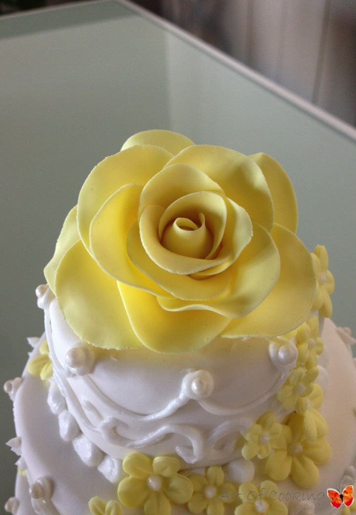 Ornament Yellow Wedding Cake | Full Service Catering and Event ...