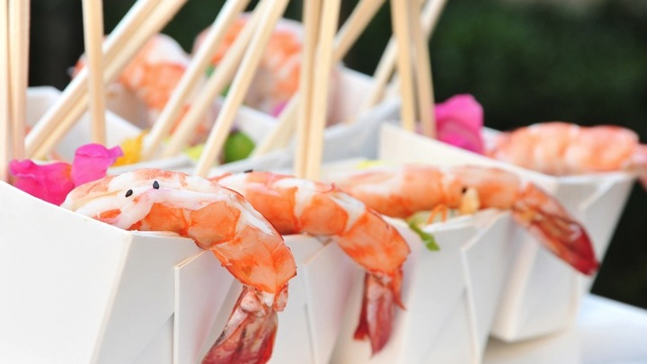 Asian Shrimp Salad Take Out box for corporate catering