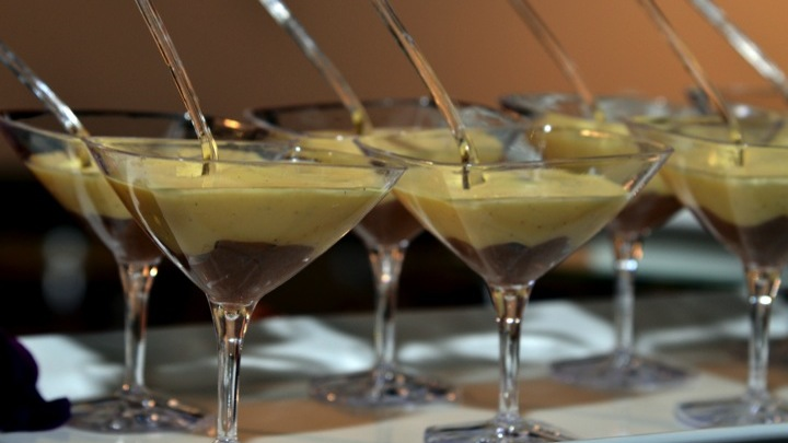 Baileys and chocolate creme brulee in martini glass