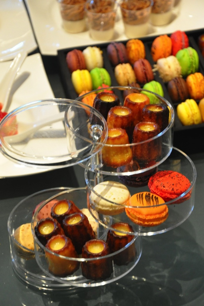Caneles and Macarons display